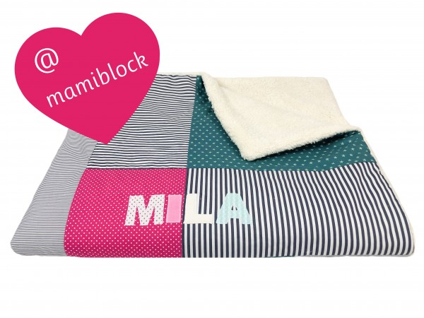 Kuscheldecke Ztars petrol-pink ab XL - @ Mamiblock
