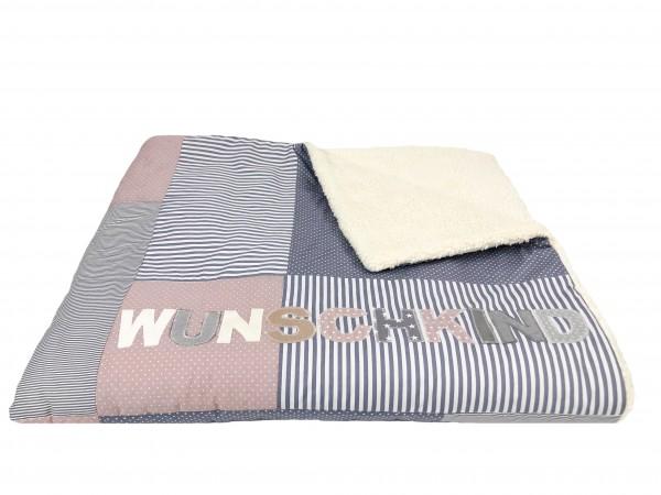 Kuscheldecke grau/altrosa Dots & Stripes ab XL