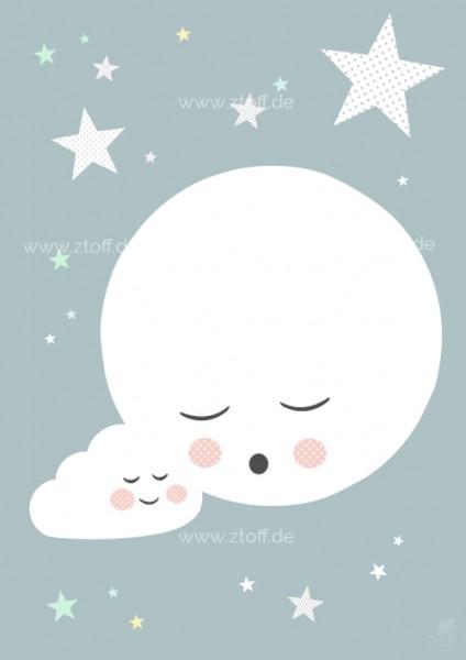 Bild für Kinderzimmer Mond zum Ausdrucken