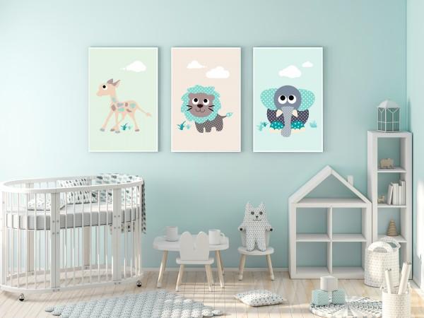3 Bilder für Kinderzimmer (Elefant, Giraffe, Löwe) zum Ausdrucken