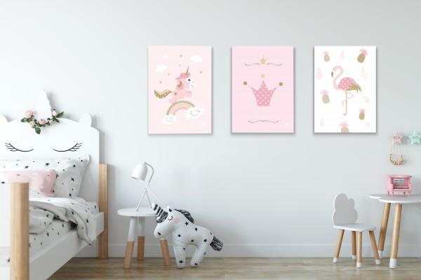 3 Leinwandbilder (Einhorn, Flamingo, Krone) für Kinderzimmer