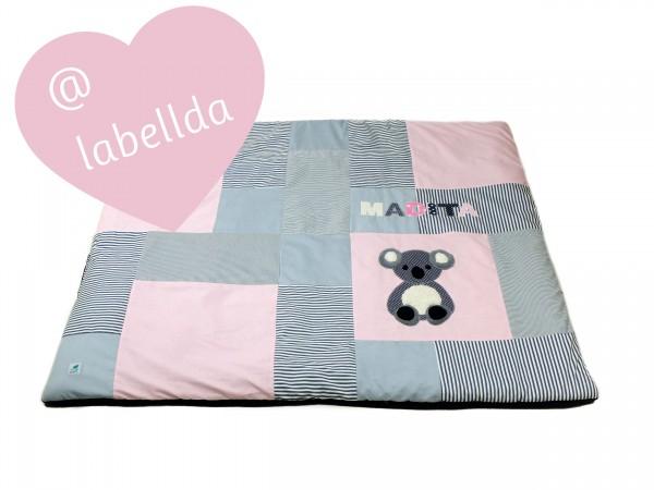 Krabbeldecke Dots & Stripes pastellrosa ab XL