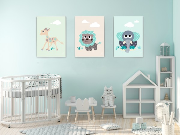 3 Leinwandbilder (Elefant, Giraffe, Löwe) für Kinderzimmer