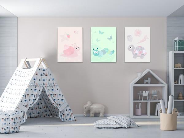 3 Leinwandbilder (Schildkröte, Schnecke, Raupe) für Kinderzimmer