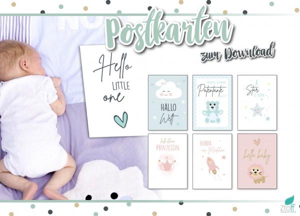 Download- Baby Postkarten zur Geburt für Mädchen und Jungen- SOFORT Download
