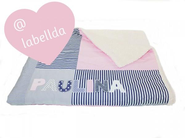 Kuscheldecke pastellrosa Dots & Stripes ab XL