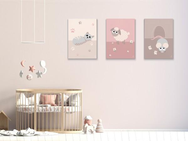 3 Leinwandbilder (Katze, Schaf, Maus) für Kinderzimmer