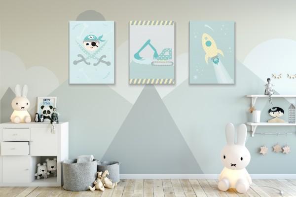3 Bilder für Kinderzimmer (Pirat, Bagger, Rakete) zum Ausdrucken