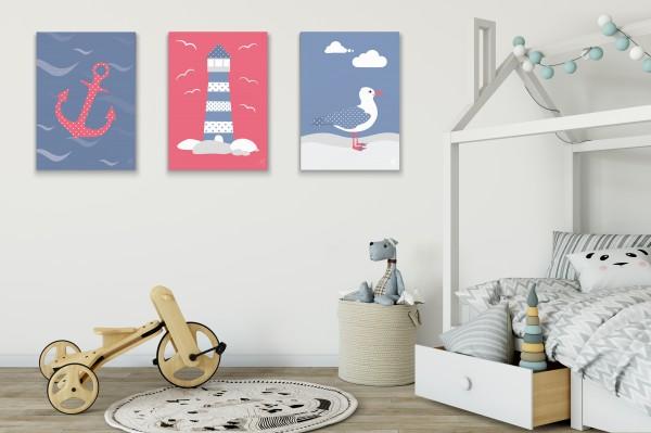 3 Leinwandbilder (Möwe, Anker, Leuchtturm) für Kinderzimmer