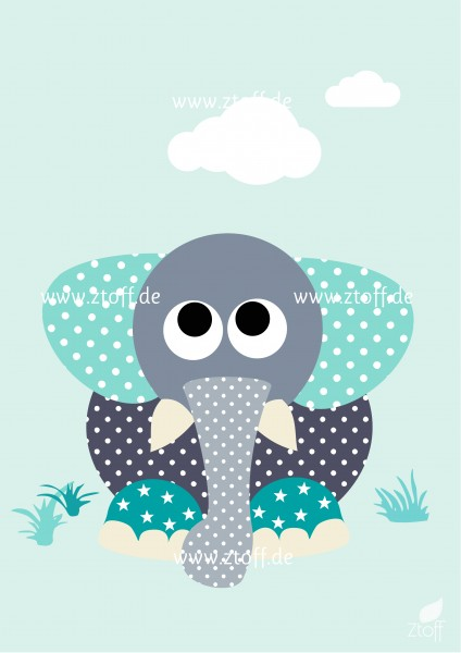 Leinwandbild Elefant für Kinderzimmer