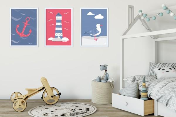 3 Bilder für Kinderzimmer (Möwe, Anker, Leuchtturm) zum Ausdrucken