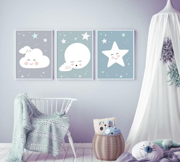 Download 3 Bilder für Kinderzimmer (Mond, Wolke, Stern)