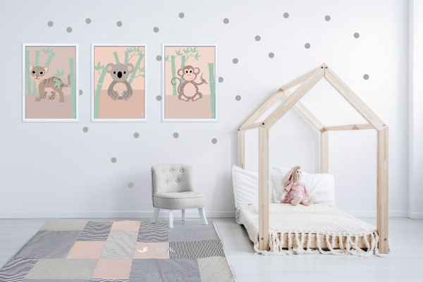 3 Bilder für Kinderzimmer (Tiger, Koala, Affe) zum Ausdrucken