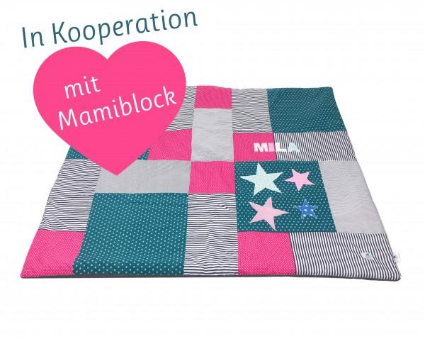 Krabbeldecke Ztars petrol-pink ab XL - Kooperation: Ztoff und Mamiblock