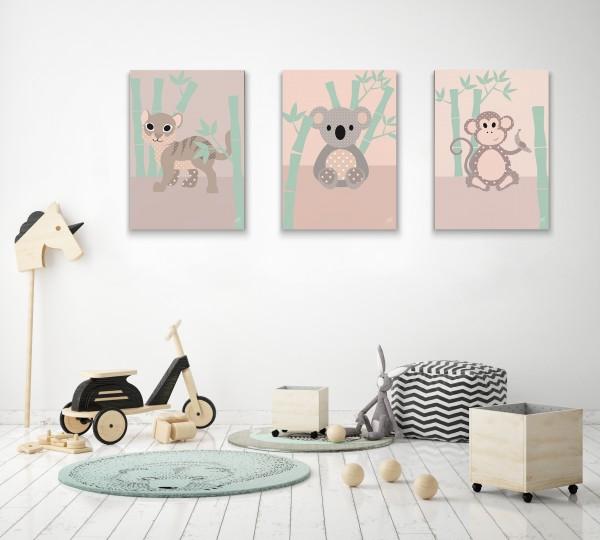 3 Leinwandbilder (Tiger, Koala, Affe) für Kinderzimmer