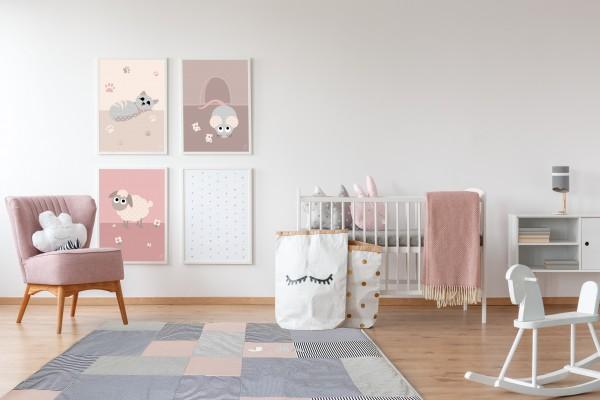 3 Bilder für Kinderzimmer (Katze, Schaf, Maus) zum Ausdrucken