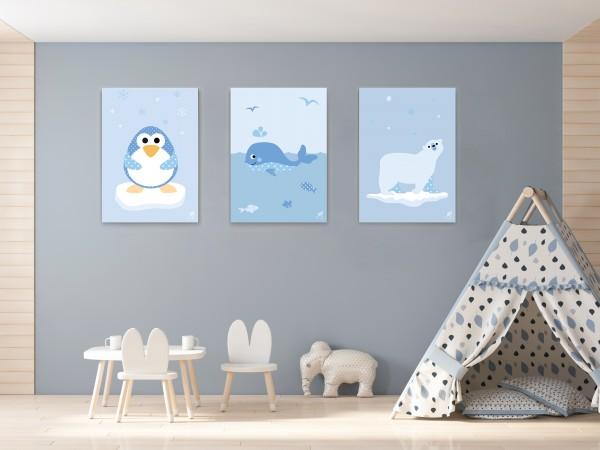 3 Leinwandbilder (Pinguin, Eisbär, Wal) für Kinderzimmer