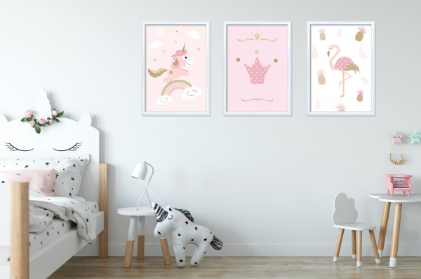 3 Bilder für Kinderzimmer (Einhorn, Flamingo, Krone) zum Ausdrucken