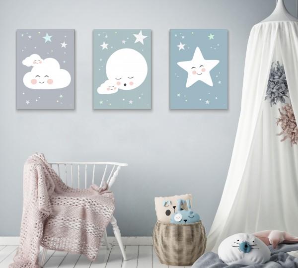 3 Leinwandbilder (Mond, Wolke, Stern) für Kinderzimmer