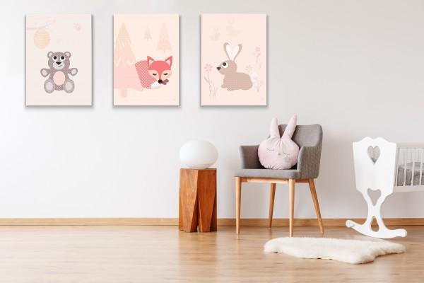 3 Leinwandbilder (Bär, Fuchs, Hase) für Kinderzimmer