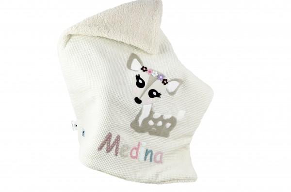 Babydecke Waffelpique creme personalisierbar mit Namen und Reh