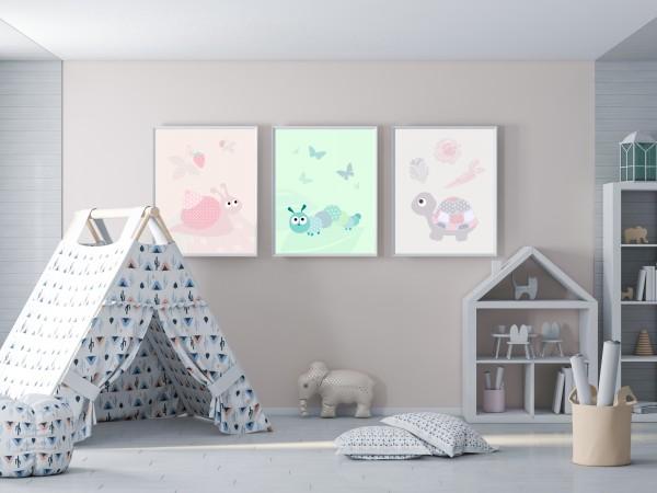 3 Bilder für Kinderzimmer (Schnecke, Raupe, Schildkröte) zum Ausdrucken