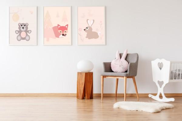 3 Bilder für Kinderzimmer (Bär, Fuchs, Hase) zum Ausdrucken