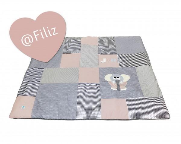 Krabbeldecke Dots & Stripes grau/altrosa ab XL