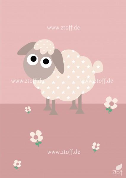 Bild für Kinderzimmer Schaf zum Ausdrucken